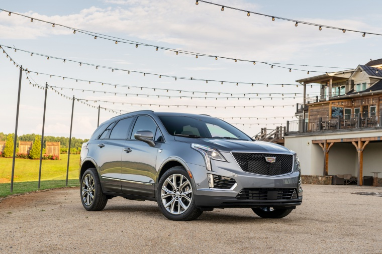 Picture of a 2020 Cadillac XT5 Sport AWD in Satin Steel Metallic from a front right perspective