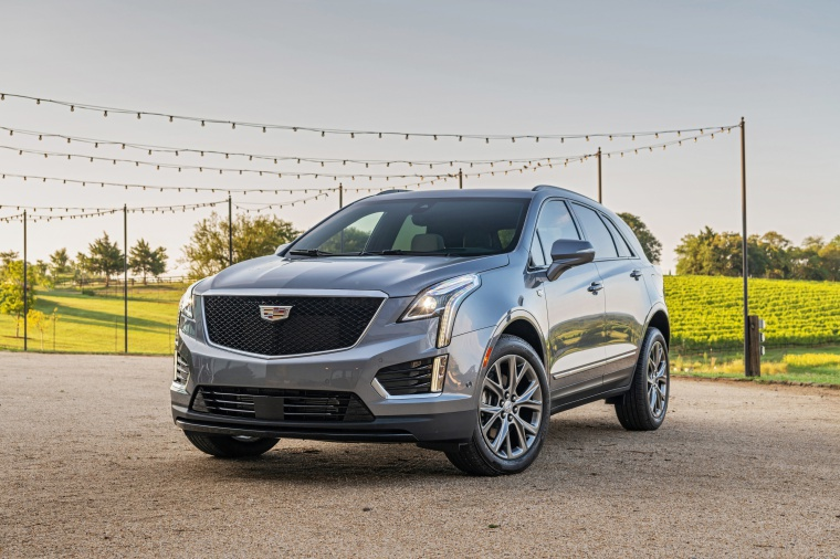 Picture of a 2020 Cadillac XT5 Sport AWD in Satin Steel Metallic from a front left perspective