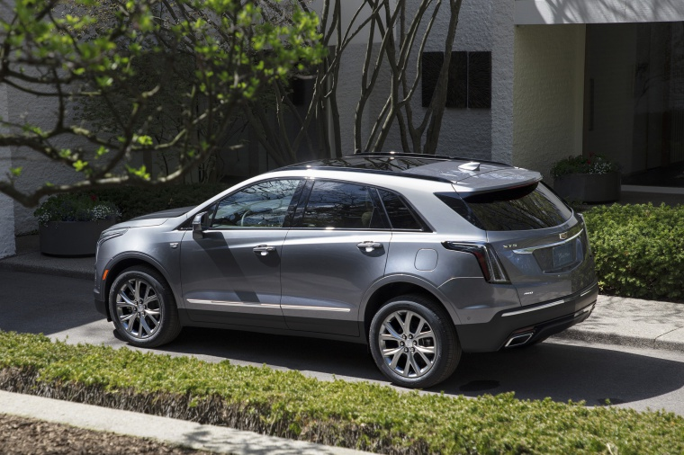 2020 Cadillac XT5 Sport AWD in Satin Steel Metallic from a rear left three-quarter view
