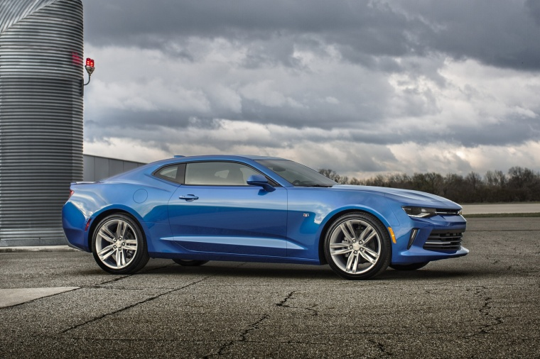 2017 Chevrolet Camaro RS Coupe in Hyper Blue Metallic from a front right three-quarter view