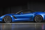 2016 Chevrolet Corvette Z06 Convertible with top closed in Laguna Blue Metallic Tintcoat - Static Side View