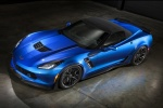 2016 Chevrolet Corvette Z06 Convertible with top closed in Laguna Blue Metallic Tintcoat - Static Front Left Three-quarter Top View