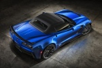 2016 Chevrolet Corvette Z06 Convertible with top closed in Laguna Blue Metallic Tintcoat - Static Rear Right Three-quarter Top View