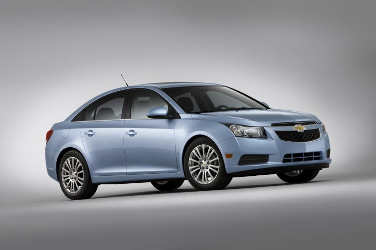 2011 Chevrolet Cruze Eco in Ice Blue Metallic from a front right three-quarter view