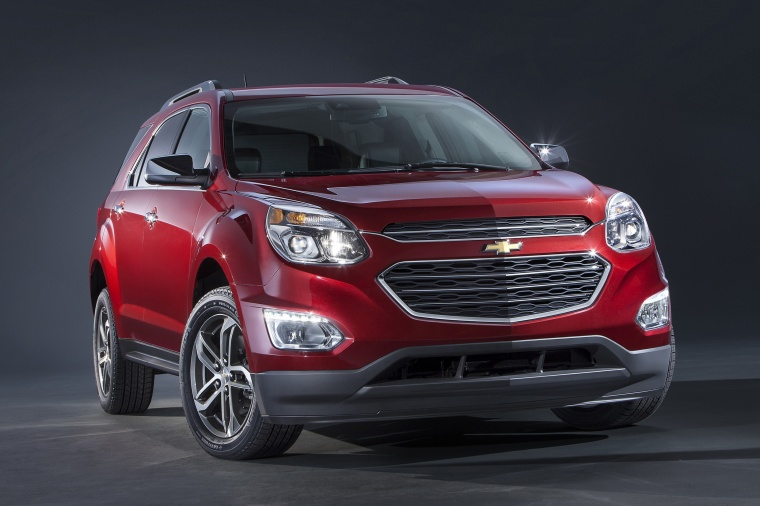 2016 Chevrolet Equinox LTZ in Siren Red Tintcoat from a front right view