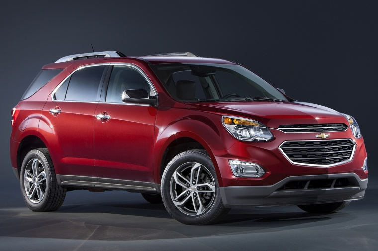 2017 Chevrolet Equinox in Siren Red Tintcoat from a front right three-quarter view