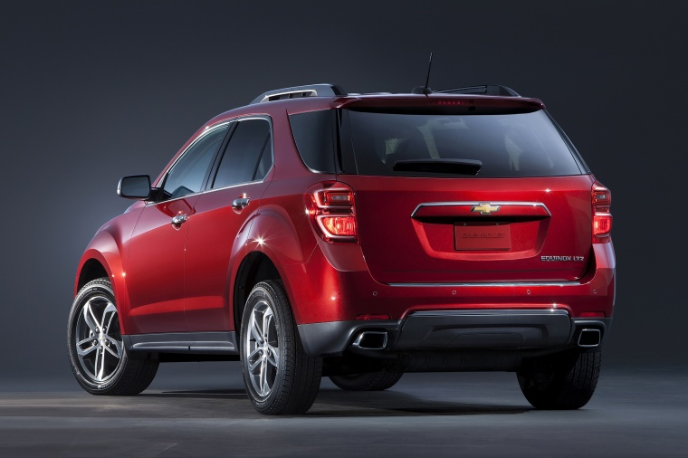 Picture of a 2017 Chevrolet Equinox in Siren Red Tintcoat from a rear left three-quarter perspective