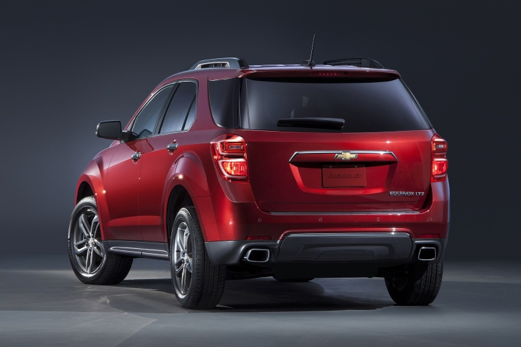 2017 Chevrolet Equinox in Siren Red Tintcoat from a rear left view