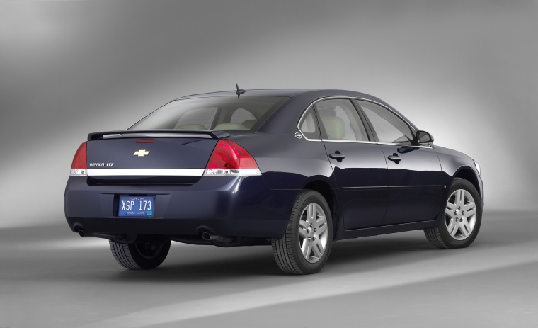 2011 Chevrolet Impala LTZ in Imperial Blue Metallic from a rear right view