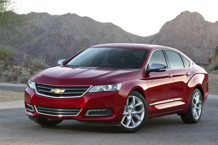 2018 Chevrolet Impala Premier in Cajun Red Tintcoat from a front left view