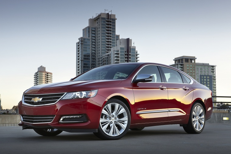 2018 Chevrolet Impala Premier in Cajun Red Tintcoat from a front left three-quarter view