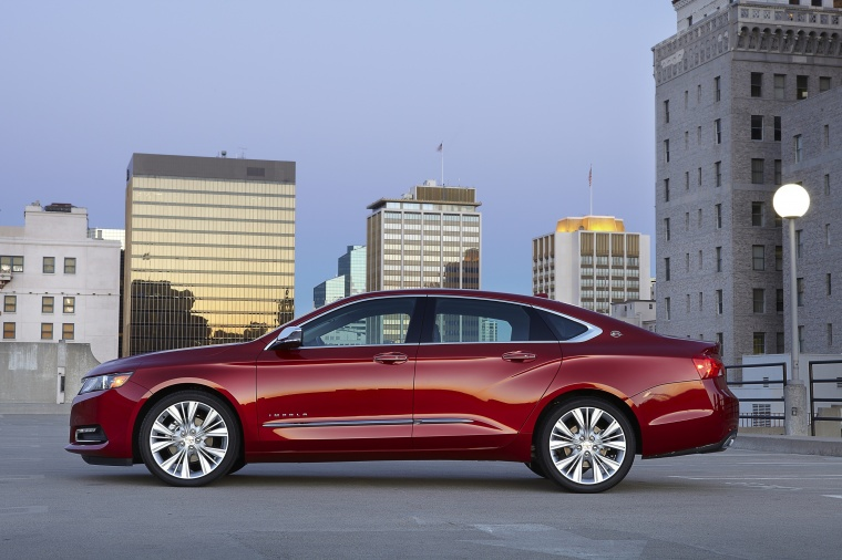 2018 Chevrolet Impala Premier in Cajun Red Tintcoat from a side view