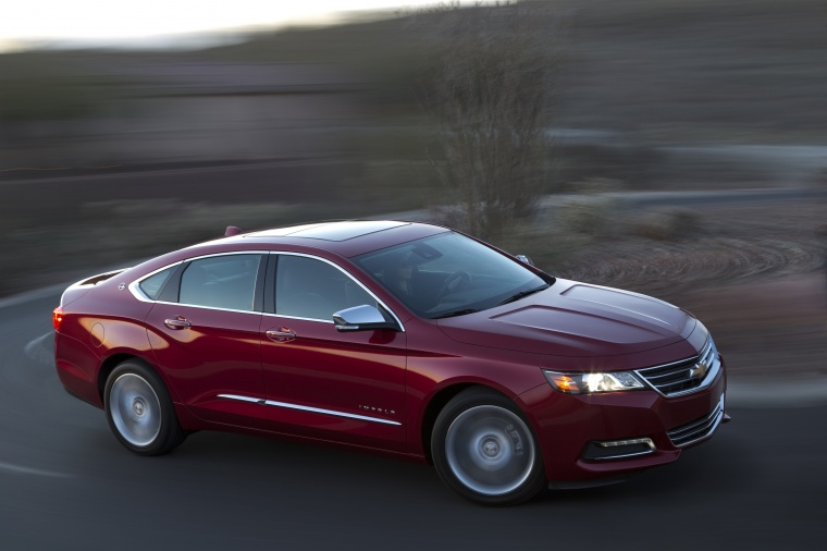 2018 Chevrolet Impala Premier in Cajun Red Tintcoat from a front right three-quarter view