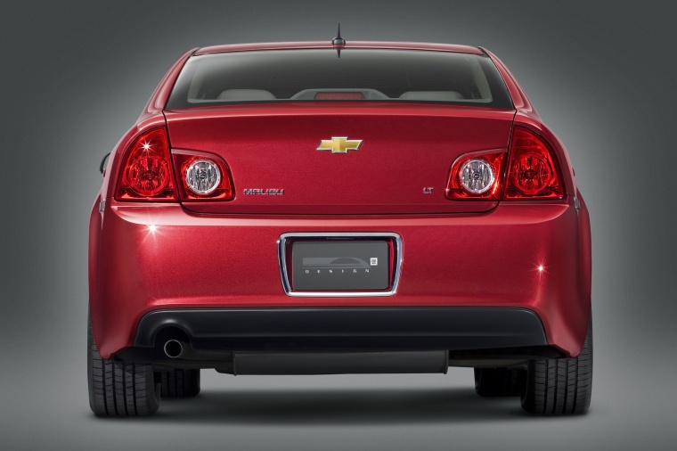 2010 Chevrolet Malibu LT in Red Jewel Tintcoat from a rear view