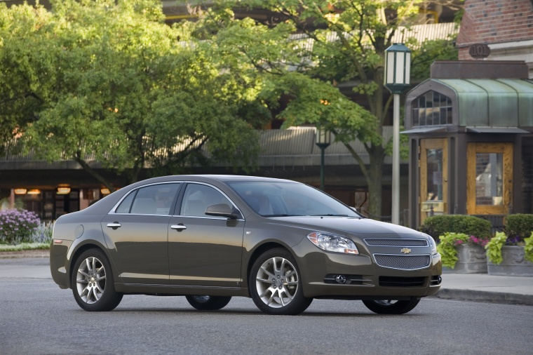 2012 Chevrolet Malibu LTZ in Taupe Gray Metallic from a front right three-quarter view