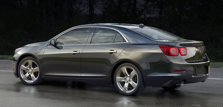 2015 Chevrolet Malibu in Ashen Gray Metallic from a rear left three-quarter view