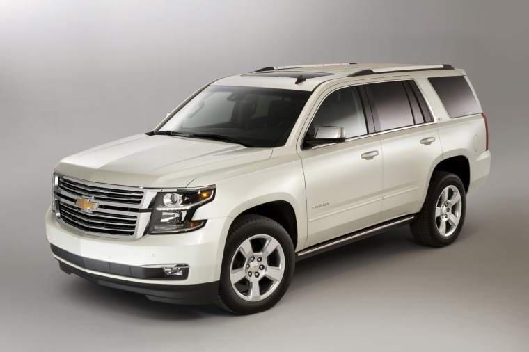 2015 Chevrolet Tahoe in Summit White from a front left three-quarter view
