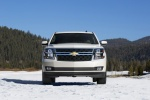 Picture of a 2016 Chevrolet Tahoe in Summit White from a frontal perspective