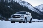 Picture of a 2016 Chevrolet Tahoe in Summit White from a front left perspective