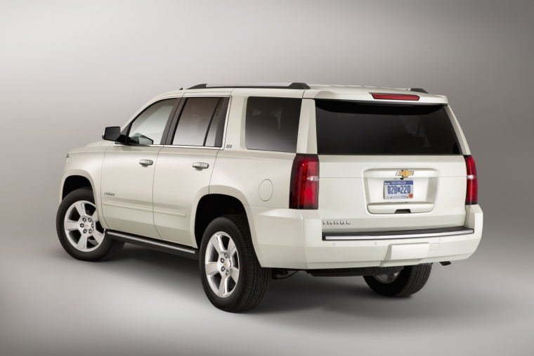 2017 Chevrolet Tahoe in Summit White from a rear left view