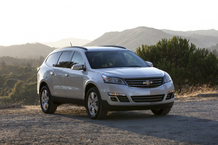2016 Chevrolet Traverse LTZ in Silver Ice Metallic from a front right view