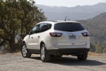 Picture of a 2016 Chevrolet Traverse LTZ in Summit White from a rear left perspective