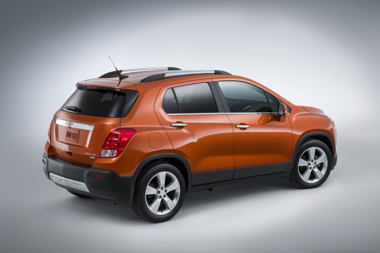 2016 Chevrolet Trax LTZ AWD in Orange Rock Metallic from a rear right three-quarter view