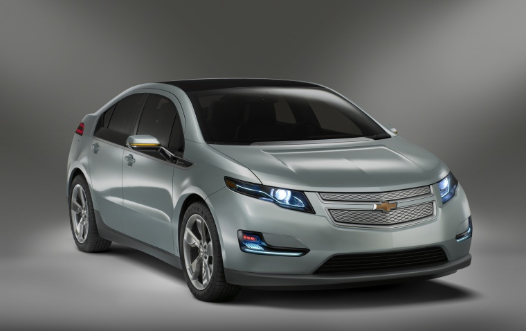 2012 Chevrolet Volt in Viridian Joule Tricoat from a front right three-quarter view