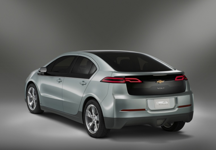 2015 Chevrolet Volt in Silver Topaz Metallic from a rear left view