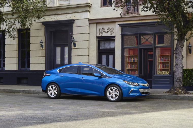 2017 Chevrolet Volt in Kinetic Blue Metallic from a front right three-quarter view