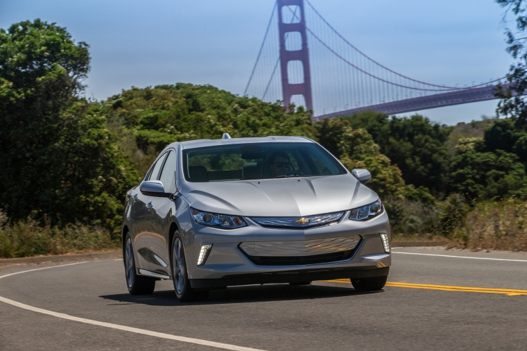 Driving 2017 Chevrolet Volt in Silver Ice Metallic from a frontal view