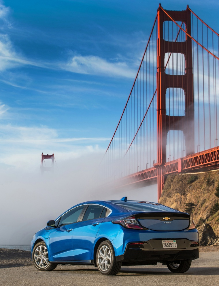 2017 Chevrolet Volt in Kinetic Blue Metallic from a rear left view