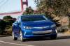 Driving 2017 Chevrolet Volt in Kinetic Blue Metallic from a front right view