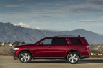 Picture of a 2014 Dodge Durango Limited AWD in Deep Cherry Red Crystal Pearlcoat from a left side perspective