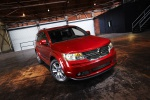 Picture of a 2019 Dodge Journey in Redline 2 Coat Pearl from a front right three-quarter perspective