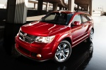 Picture of a 2019 Dodge Journey in Redline 2 Coat Pearl from a front left three-quarter perspective