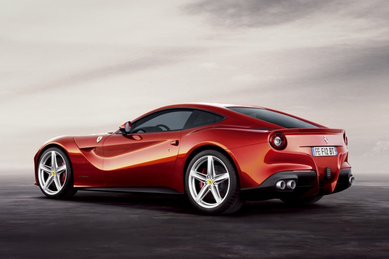 2014 Ferrari F12berlinetta in Rosso Scuderia from a rear left three-quarter view