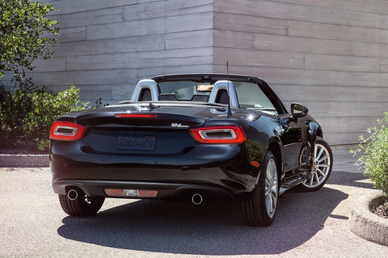 2017 Fiat 124 Spider in Nero Cinema Jet Black from a rear right view