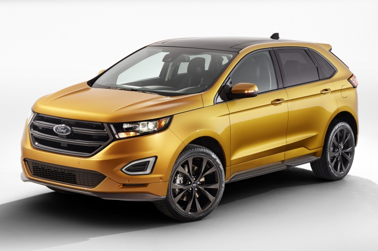 Ford Edge Sport In Electric Spice Metallic From A Front Left Three Quarter View