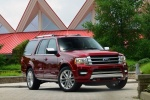 Picture of a 2017 Ford Expedition Platinum in Ruby Red Metallic Tinted Clearcoat from a front right perspective