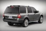 Picture of a 2017 Ford Expedition Platinum in Magnetic Metallic from a rear right three-quarter perspective