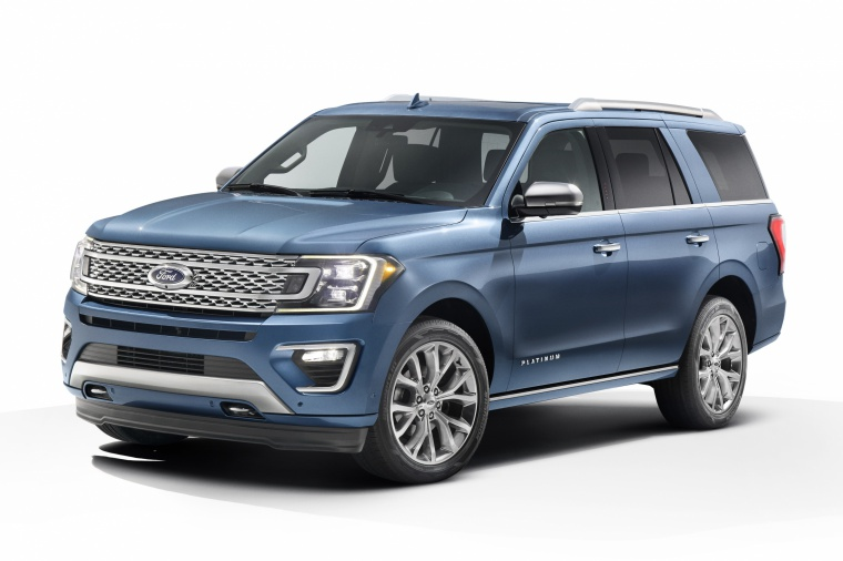 Picture of a 2019 Ford Expedition Platinum in Blue Metallic from a front left three-quarter perspective