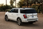 Picture of a 2020 Ford Expedition King Ranch in Star White Metallic Tri-Coat from a rear left three-quarter perspective