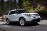 2013 Ford Explorer Limited 4WD in White Suede - Driving Front Right Three-quarter View