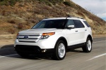 2013 Ford Explorer Limited 4WD in White Suede - Driving Front Left Three-quarter View