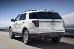 2013 Ford Explorer Sport 4WD in White Platinum Metallic Tri-Coat - Driving Rear Left View