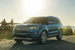 Picture of a 2016 Ford Explorer Platinum 4WD in Guard Metallic from a front left perspective