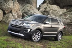 Picture of a 2019 Ford Explorer Platinum 4WD in Magnetic Metallic from a front left three-quarter perspective