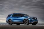 Picture of a 2020 Ford Explorer ST EcoBoost 4WD in Atlas Blue Metallic from a front right three-quarter perspective