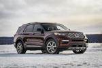 Picture of a 2020 Ford Explorer Platinum V6 EcoBoost 4WD in Rich Copper Metallic Tinted Clearcoat from a front right three-quarter perspective